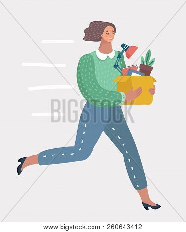 Vector Cartoon Illustration Of Welcome To The New Job Business Concept. Boss Offering A New Office T