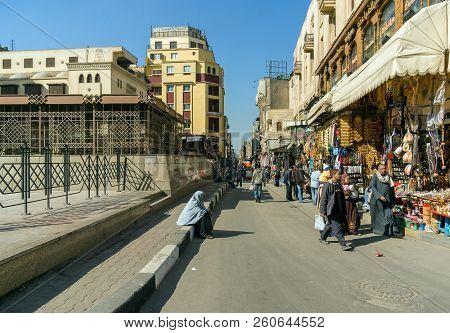 Cairo, Egypt February 20, 2017: Street In The Market Called Khan El Khalili, The Most Famous Street