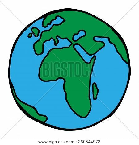 Globe. Earth Icon. Vector Planet Earth. Hand Drawn Globe.