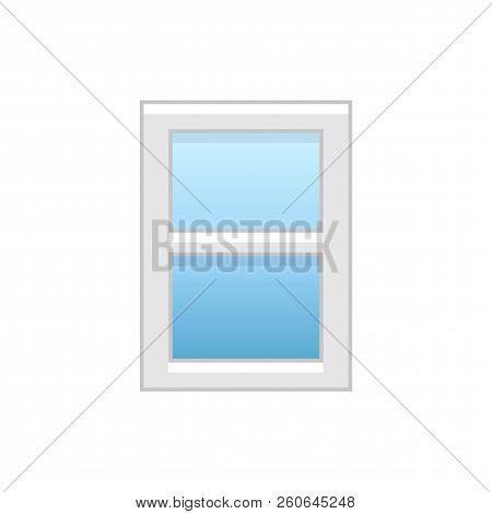 Vector Illustration Of Vinyl Double-hung Sash Window. Flat Icon Of Traditional Aluminum Sash Window.