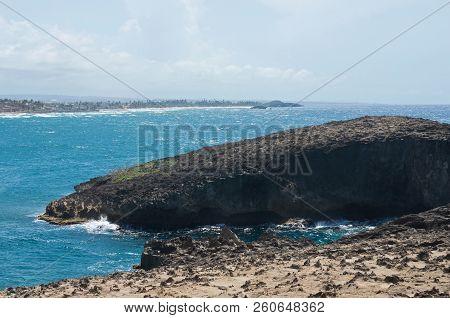 Bay And Rocky Shoreline Along North Coast Of Puerto Rico Near Cueva Del Indio