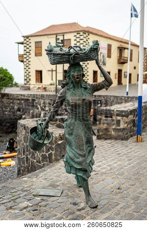 Puerto De La Cruz, Spain - July 19, 2018: Sculpture