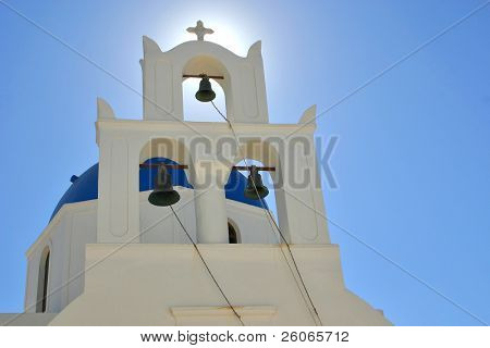 A greek orthodox church in Oia, Santorini.