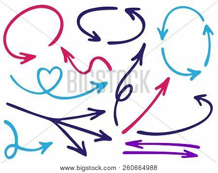 Hand Drawn Diagram Arrow Icons Vector Set. Up Down Pen Sketch Arrows, Right And Left Direction Point