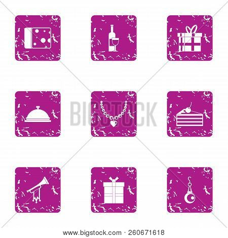 Costly Icons Set. Grunge Set Of 9 Costly Vector Icons For Web Isolated On White Background