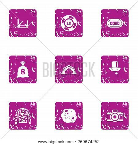Speculate House Icons Set. Grunge Set Of 9 Speculate House Vector Icons For Web Isolated On White Ba