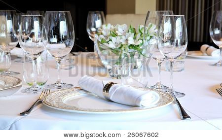 Fancy table set for a dinner