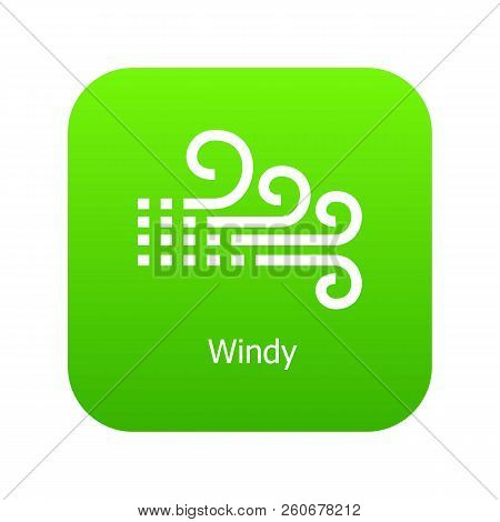 Windy Icon Green Vector Isolated On White Background