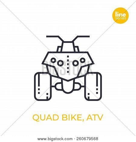 Quad Bike, All Terrain Vehicle Atv, Quadricycle Linear Icon On White