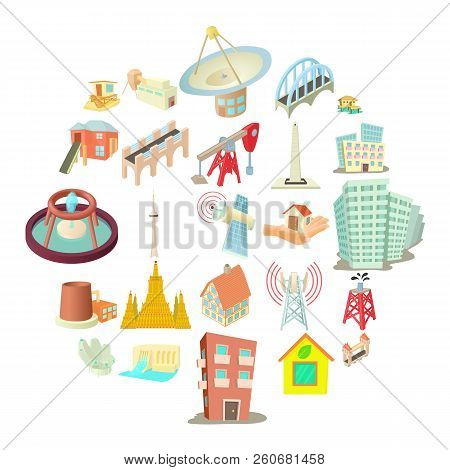 Edifice Icons Set. Cartoon Set Of 25 Edifice Vector Icons For Web Isolated On White Background
