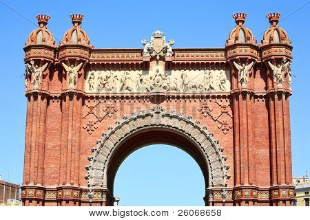 triumphal arch in Barcelona poster