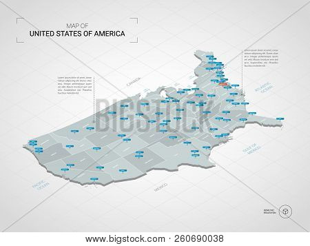 Isometric  3d United States Of America Usa Map. Stylized Vector Map Illustration With Cities, Border
