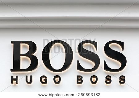 Oslo, Norway - August 27, 2018: Hugo Boss Sign On A Store. Hugo Boss Is A German Luxury Fashion Hous