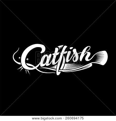 Catfish Logo. Black And White Lettering Design. Decorative Inscription. Cat Fish Vector Illustration