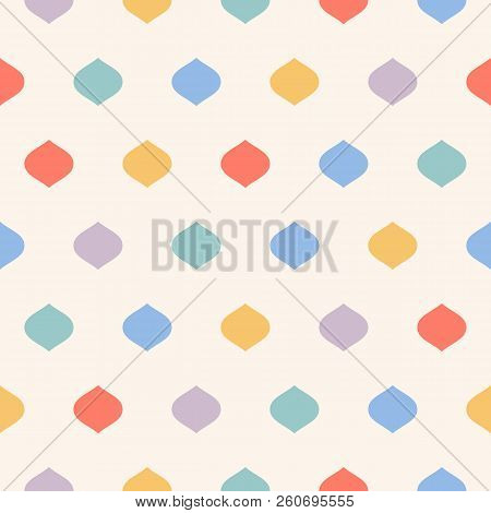 Cute Colorful Polka Dot Seamless Pattern. Vector Dotted Print Texture With Geometric Spots, Confetti