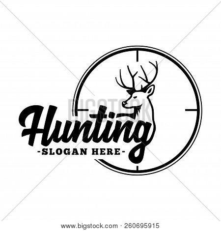 Hunting Logo. Black And White Lettering Design. Decorative Inscription. Hunting Vector And Illustrat