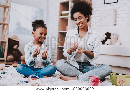 Mulatto And Relax Time With Family. Child And Mother Time Together. Childhood And Happy Time With Yo