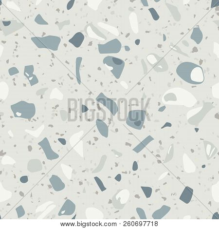 Terrazzo Seamless Pattern Vector Texture Of Mosaic Floor With Stone Fragments Marble Granite