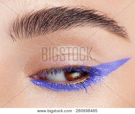 Beautiful Macro Shot Of Female Eye With Extreme Long Eyelashes And Black Liner Makeup. Perfect Shape