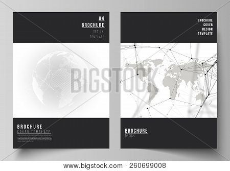 Vector Layout Of A4 Format Cover Mockups Design Templates For Brochure, Flyer, Booklet. Futuristic D
