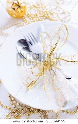 Table Setting For Celebration Christmas And New Year Holidays On White Wooden Table.. Festive Place
