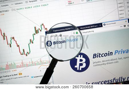 Montreal, Canada - September 8, 2018: Bitcoin Private Altcoin Site Under Magnifying Glass. Blockchai