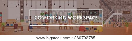Office Interior And Workspace. Modern Office Desktop In Coworking Workspace. Optimization Of Workpla