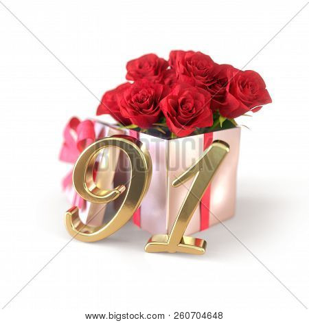 Birthday Concept With Red Roses In Gift Isolated On White Background. Ninety-first. 91st. 3d Render