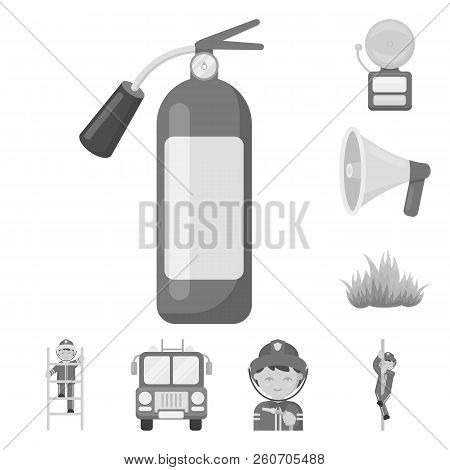 Fire Department Monochrome Icons In Set Collection For Design. Firefighters And Equipment Vector Sym