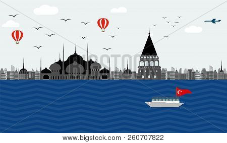 Vector Beautiful View Of The Embankment Of Turkey Istanbul To The Blue Mosque And The Galata Tower O