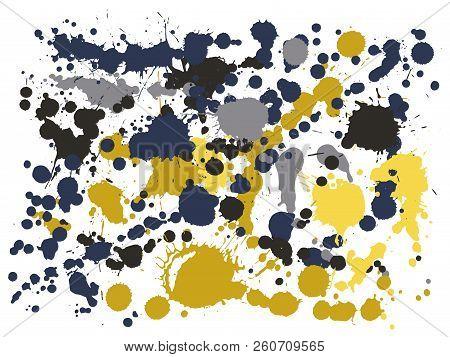 Graffiti Spray Stains Grunge Background Vector. Vintage Ink Splatter, Spray Blots, Dirty Spot Elemen