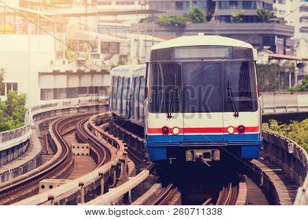 Electric Skytrain Is Running In Downtown Of Bangkok Metropolitan Region.