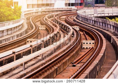 Skytrain Railroad Tracks With Building Background.
