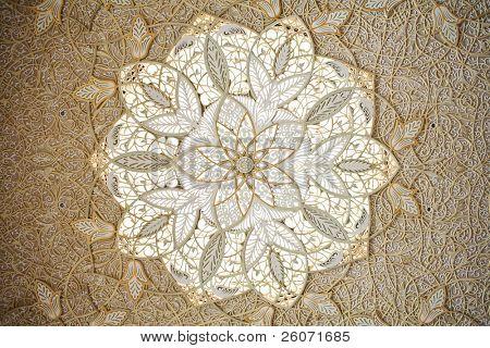 Ceiling Decoration of Sheikh Zayed Mosque. Abu Dhabi, United Arab Emirates