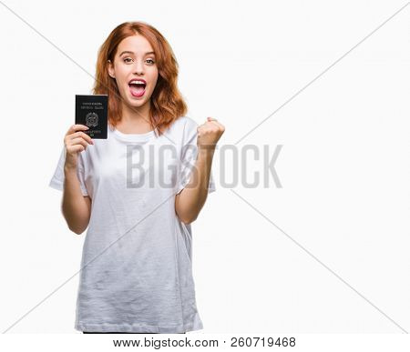 Young beautiful woman holding passport of italy over isolated background screaming proud and celebrating victory and success very excited, cheering emotion
