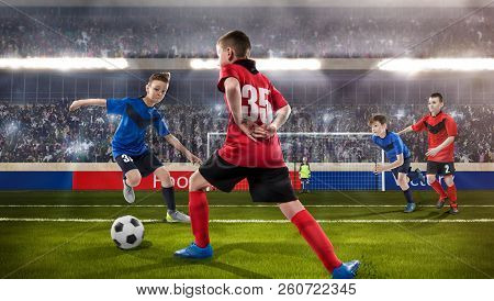 kids fotball players struggling for the ball poster
