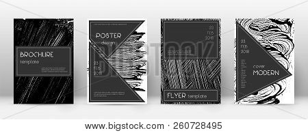 Cover Page Design Template. Black Brochure Layout. Beauteous Trendy Abstract Cover Page. Black And W