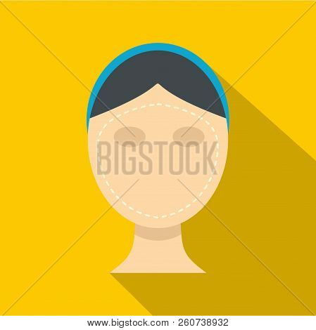 Woman Face Ready For Cosmetic Surgery Icon. Flat Illustration Of Woman Face Ready For Cosmetic Surge