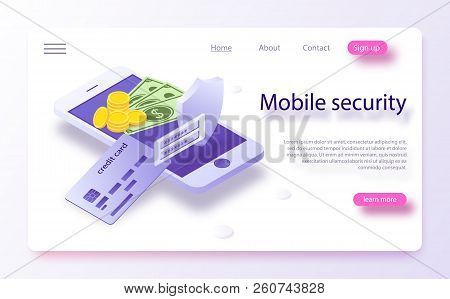Online Payment Protection System Concept With Smartphone And Credit Card. Mobile Payment Concept Iso