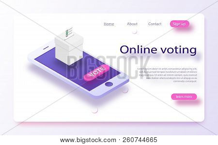 Flat Isometric Vector Concept Voting Online, E-voting, Election Internet System. Concept Of Online C