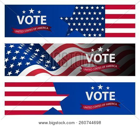 Presidential Election Banner Background. Us Presidential Election 2020. Us Midterm Elections 2018: T