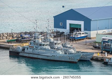 Bridgetown, Barbados - December 18, 2016: Coast Guard Offshore Patrol Vessels Moored In Port Of Brid