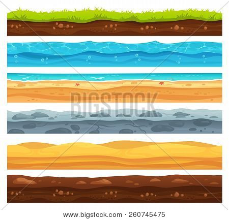 Seamless Ground Surface. Green Grass Land Landscape, Sandy Desert And Beach With Sea Water. Grounds