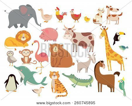 Cartoon Animals. Cute Elephant And Lion, Giraffe And Crocodile, Cow And Chicken, Dog And Cat. Farm A