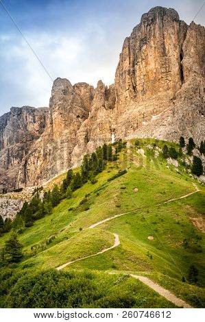 The Dolomites, Also Called Pale Mountains Due To The Clear Color Of Its Rocks, Which Turns Pink At S