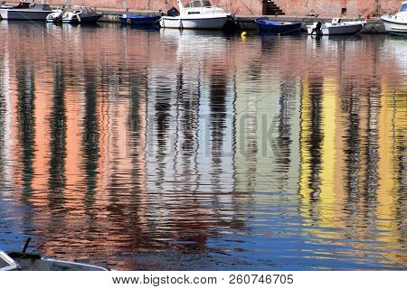 Boats In The River Temo In Italy, Panoramic View On The Boats On The River Temo In Bosa In Sardinia
