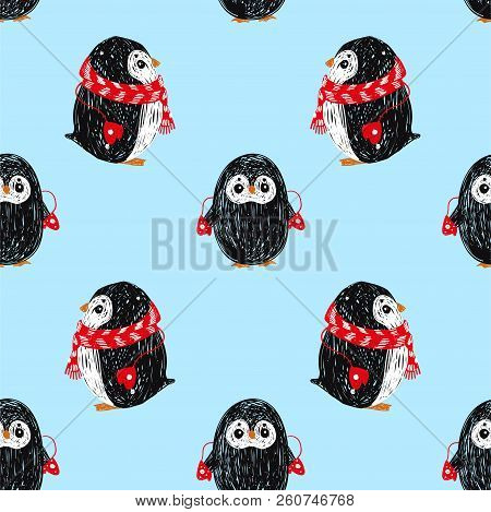 Seamless Vector Pattern With Cute Penguin In Scarf And Hat. Can Be Used For Wallpaper, Pattern Fills