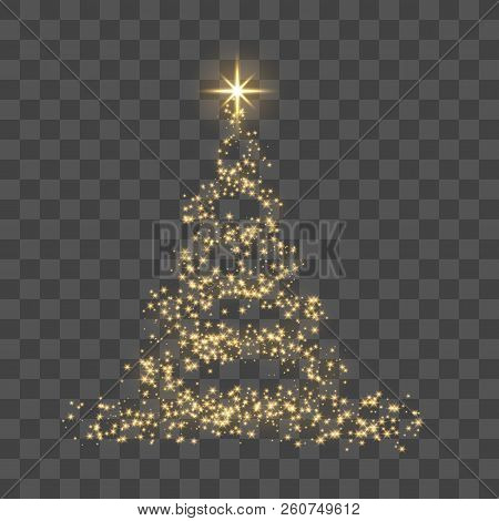 Christmas Tree On Transparent Background. Gold Christmas Tree As Symbol Of Happy New Year, Merry Chr
