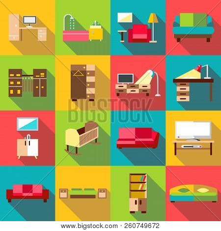 Home Interior Icons Set. Flat Illustration Of 16 Home Interior Icons For Web