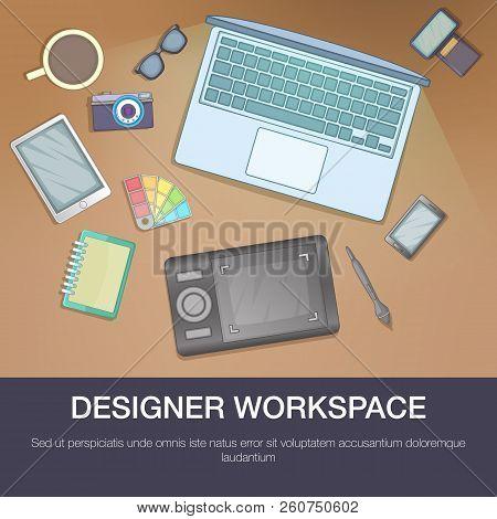 Designer Workspace Concept. Cartoon Illustration Of Designer Workspace Concept For Web